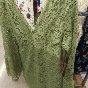 Lime olive green lace dress